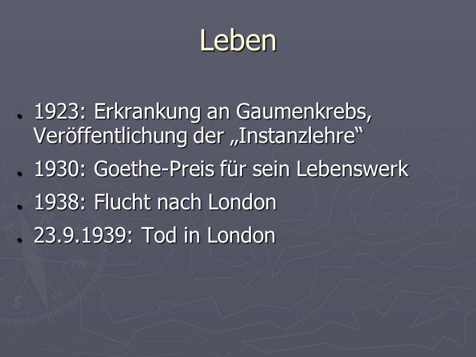 Leben 1923: Erkrankung an Gaumenkrebs, Veröffentlichung der Instanzlehre 1923: Erkrankung an Gaumenkrebs, Veröffentlichung der Instanzlehre 1930: Goet