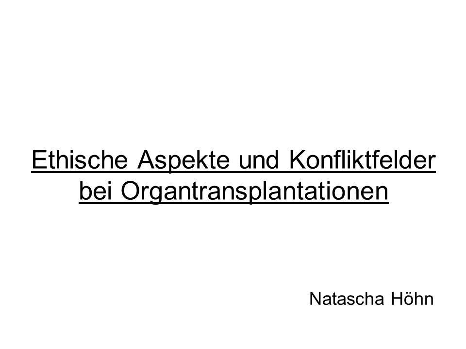 Ethische Aspekte und Konfliktfelder bei Organtransplantationen Natascha Höhn