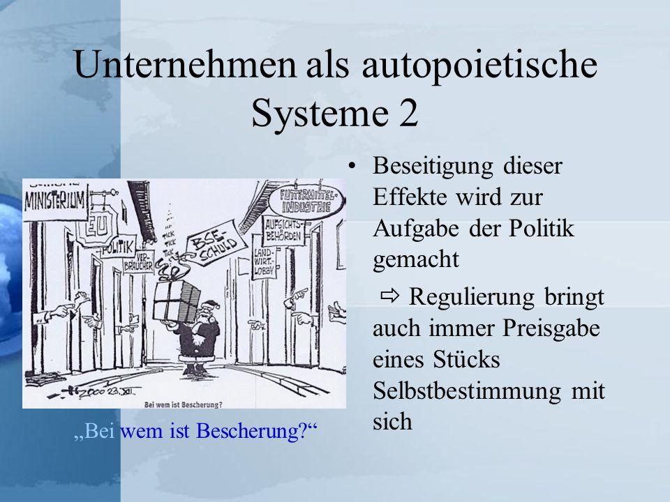 Unternehmen als autopoietische Systeme 2 Beseitigung dieser Effekte wird zur Aufgabe der Politik gemacht Regulierung bringt auch immer Preisgabe eines