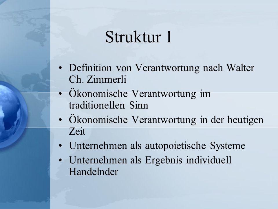 Struktur 2 Wahrnehmung der Unternehmens- verantwortung in der Öffentlichkeit Steigerung des Verantwortungsbewusstseins als Ergebnis heterarchischer Unternehmensstrukturen Einzelner Mitarbeiter als Verantwortungsressource Quellenverzeichnis