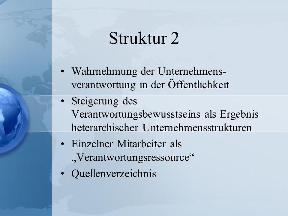 Struktur 2 Wahrnehmung der Unternehmens- verantwortung in der Öffentlichkeit Steigerung des Verantwortungsbewusstseins als Ergebnis heterarchischer Un