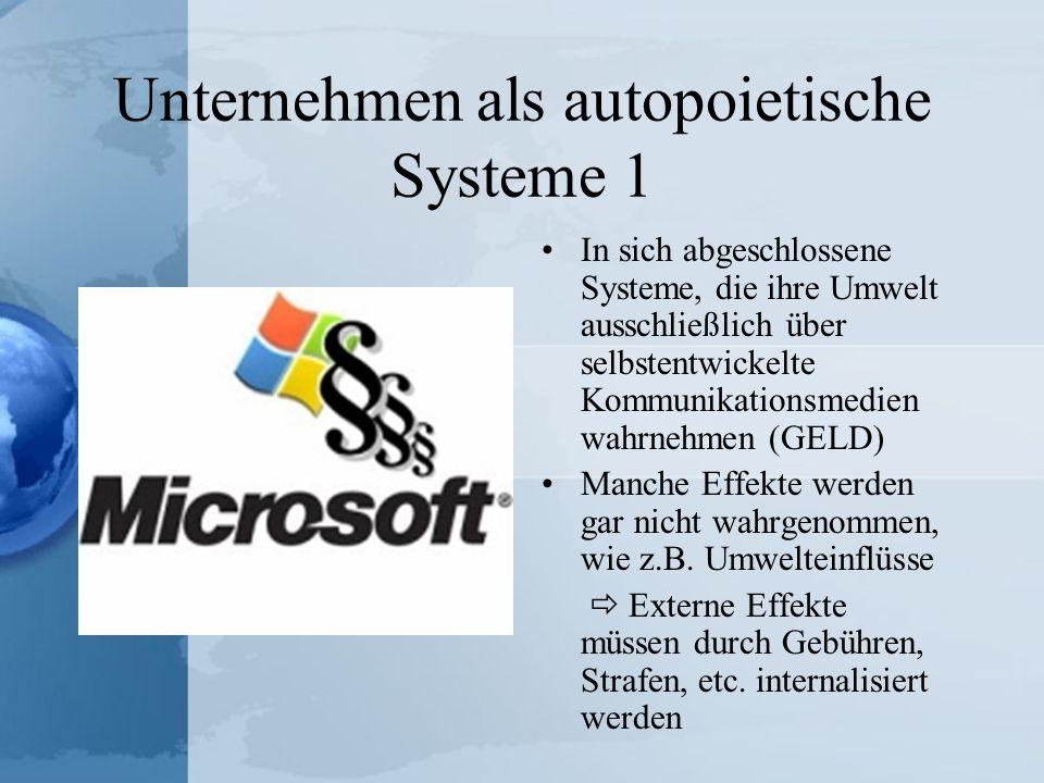 Unternehmen als autopoietische Systeme 1 In sich abgeschlossene Systeme, die ihre Umwelt ausschließlich über selbstentwickelte Kommunikationsmedien wa