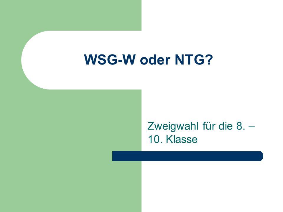 WSG-W oder NTG? Zweigwahl für die 8. – 10. Klasse