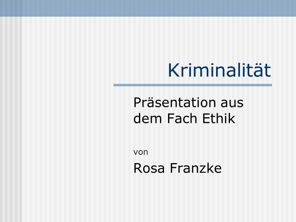 Kriminalität Präsentation aus dem Fach Ethik von Rosa Franzke