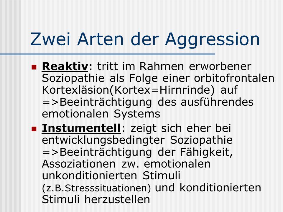 Zwei Arten der Aggression Reaktiv: tritt im Rahmen erworbener Soziopathie als Folge einer orbitofrontalen Kortexläsion(Kortex=Hirnrinde) auf =>Beeinträchtigung des ausführendes emotionalen Systems Instumentell: zeigt sich eher bei entwicklungsbedingter Soziopathie =>Beeinträchtigung der Fähigkeit, Assoziationen zw.