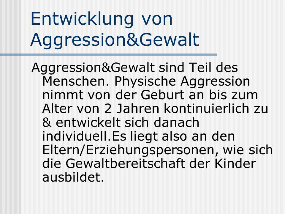 Entwicklung von Aggression&Gewalt Aggression&Gewalt sind Teil des Menschen.