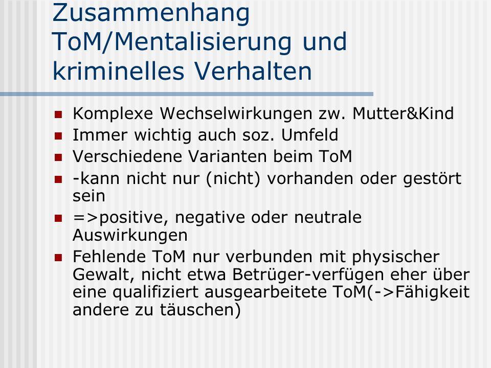 Zusammenhang ToM/Mentalisierung und kriminelles Verhalten Komplexe Wechselwirkungen zw.