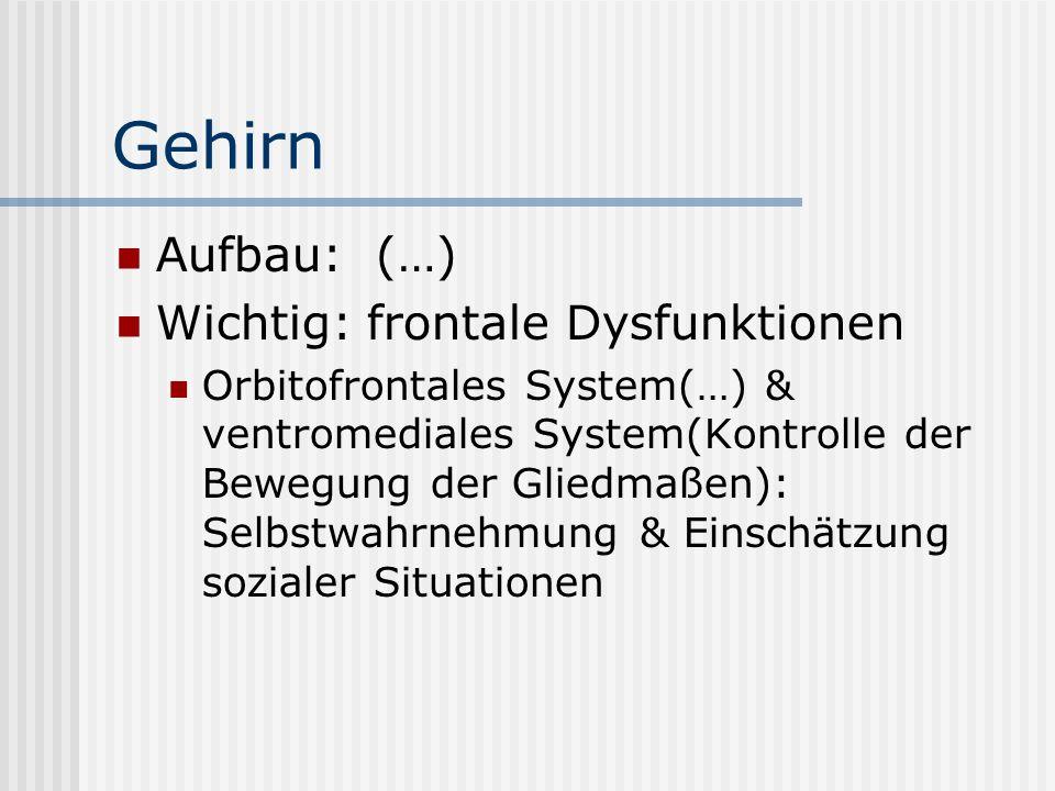 Gehirn Aufbau: (…) Wichtig: frontale Dysfunktionen Orbitofrontales System(…) & ventromediales System(Kontrolle der Bewegung der Gliedmaßen): Selbstwahrnehmung & Einschätzung sozialer Situationen