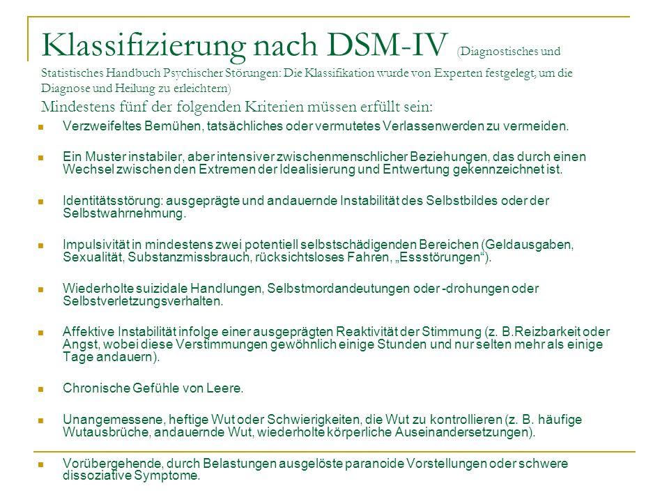 Klassifizierung nach DSM-IV (Diagnostisches und Statistisches Handbuch Psychischer Störungen: Die Klassifikation wurde von Experten festgelegt, um die Diagnose und Heilung zu erleichtern) Mindestens fünf der folgenden Kriterien müssen erfüllt sein: Verzweifeltes Bemühen, tatsächliches oder vermutetes Verlassenwerden zu vermeiden.
