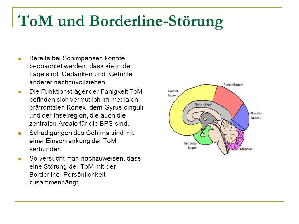ToM und Borderline-Störung Bereits bei Schimpansen konnte beobachtet werden, dass sie in der Lage sind, Gedanken und Gefühle anderer nachzuvollziehen.
