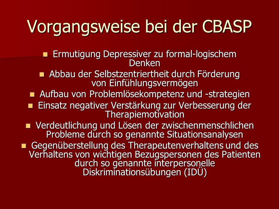 Vorgangsweise bei der CBASP Ermutigung Depressiver zu formal-logischem Denken Ermutigung Depressiver zu formal-logischem Denken Abbau der Selbstzentri