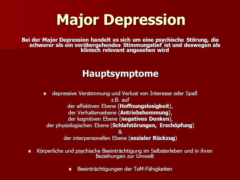 Bei der Major Depression handelt es sich um eine psychische Störung, die schwerer als ein vorübergehendes Stimmungstief ist und deswegen als klinisch