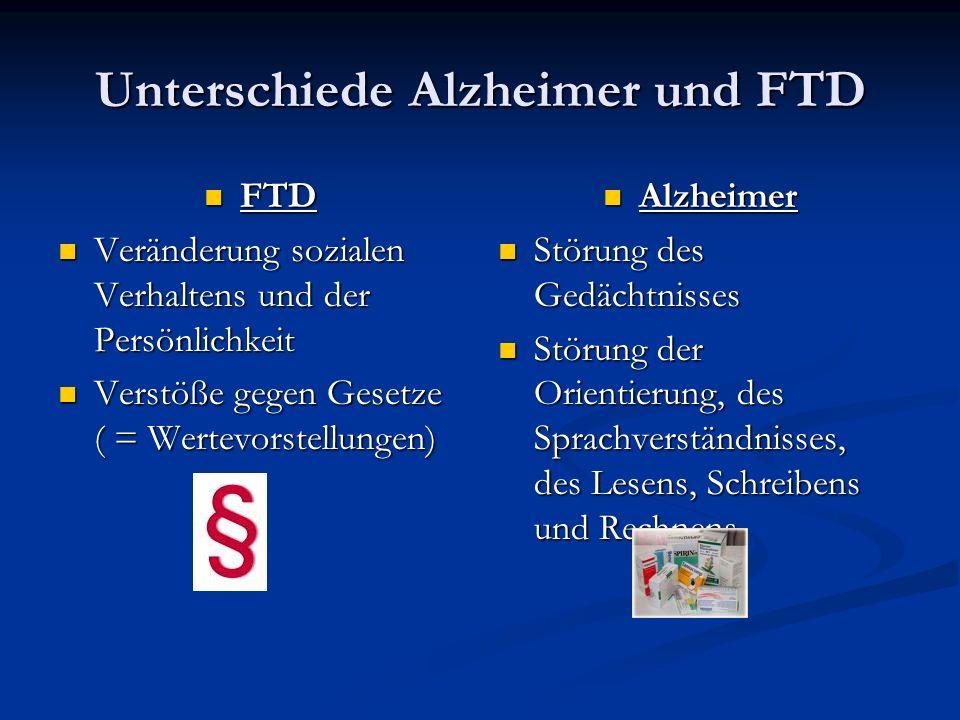 Unterschiede Alzheimer und FTD FTD FTD Veränderung sozialen Verhaltens und der Persönlichkeit Veränderung sozialen Verhaltens und der Persönlichkeit V