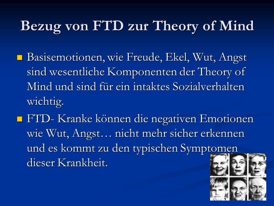 Bezug von FTD zur Theory of Mind Basisemotionen, wie Freude, Ekel, Wut, Angst sind wesentliche Komponenten der Theory of Mind und sind für ein intakte