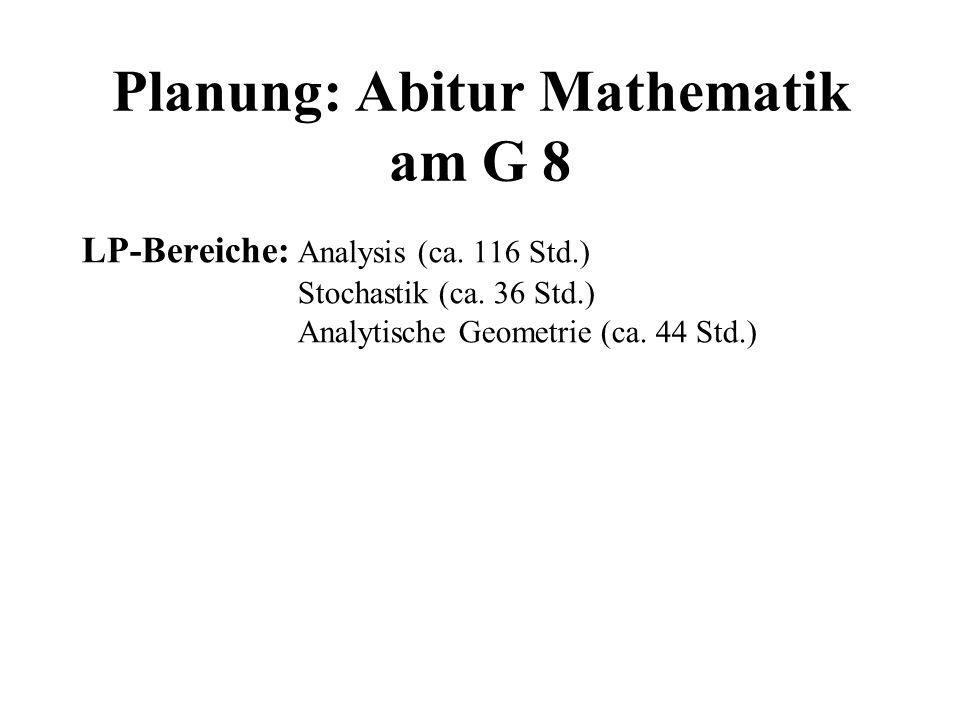 Planung: Abitur Mathematik am G 8 LP-Bereiche: Analysis (ca. 116 Std.) Stochastik (ca. 36 Std.) Analytische Geometrie (ca. 44 Std.)