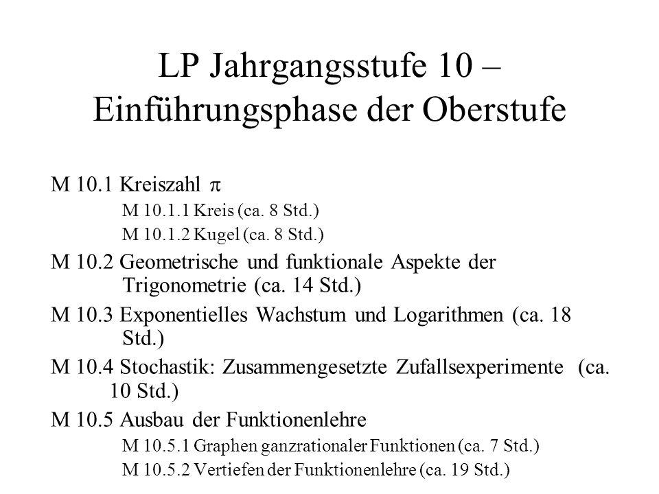 LP Jahrgangsstufe 10 – Einführungsphase der Oberstufe M 10.1 Kreiszahl M 10.1.1 Kreis (ca. 8 Std.) M 10.1.2 Kugel (ca. 8 Std.) M 10.2 Geometrische und
