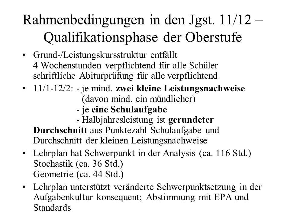 Rahmenbedingungen in den Jgst. 11/12 – Qualifikationsphase der Oberstufe Grund-/Leistungskursstruktur entfällt 4 Wochenstunden verpflichtend für alle