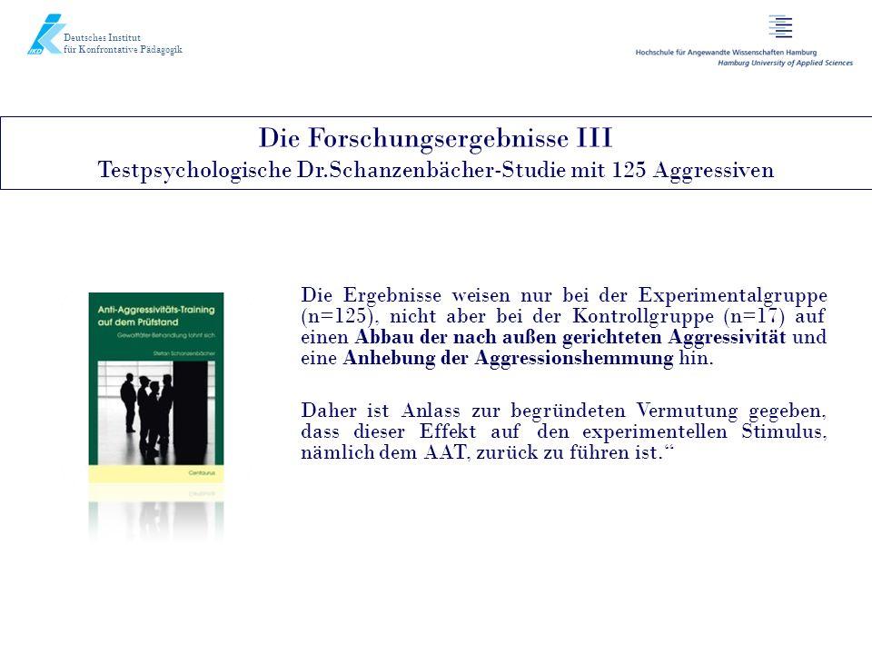 Die Forschungsergebnisse III Testpsychologische Dr.Schanzenbächer-Studie mit 125 Aggressiven Deutsches Institut für Konfrontative Pädagogik Die Ergebn