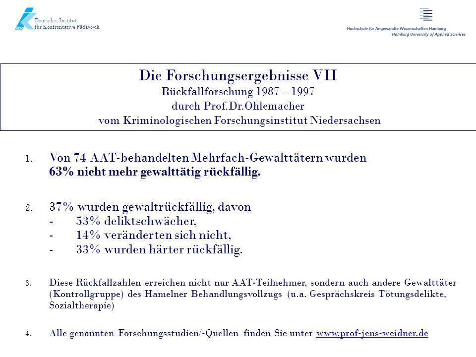 Die Forschungsergebnisse VII Rückfallforschung 1987 – 1997 durch Prof.Dr.Ohlemacher vom Kriminologischen Forschungsinstitut Niedersachsen Deutsches In