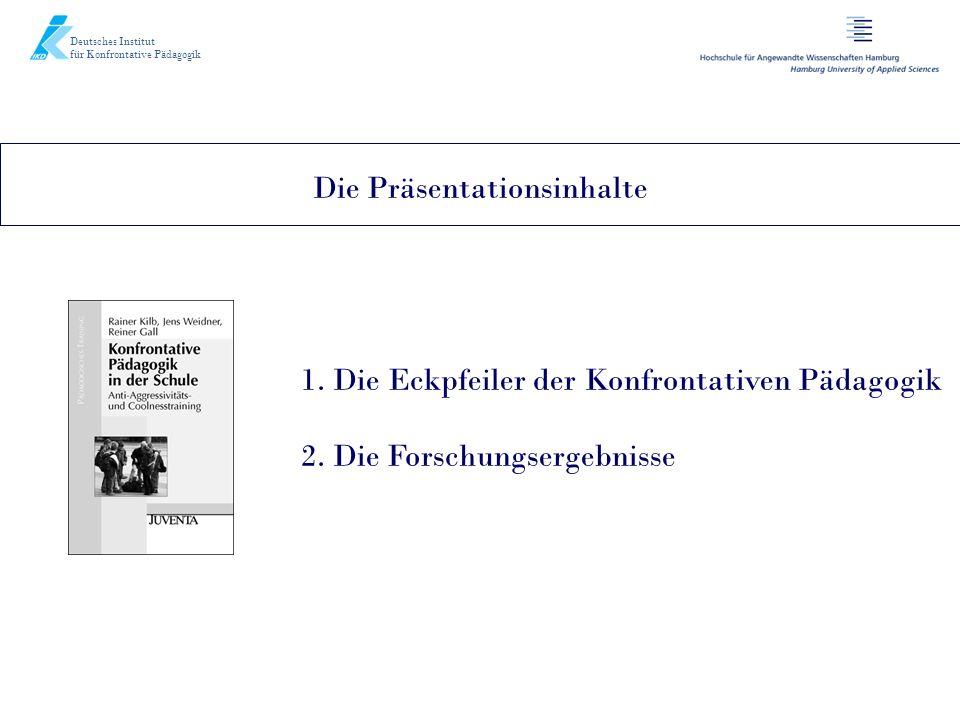 Deutsches Institut für Konfrontative Pädagogik Die Präsentationsinhalte 1. Die Eckpfeiler der Konfrontativen Pädagogik 2. Die Forschungsergebnisse