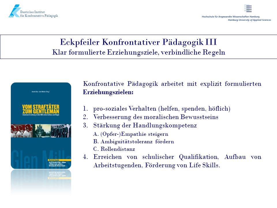Deutsches Institut für Konfrontative Pädagogik Eckpfeiler Konfrontativer Pädagogik III Klar formulierte Erziehungsziele, verbindliche Regeln Konfronta