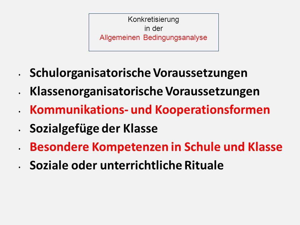 Konkretisierung in der Allgemeinen Bedingungsanalyse Schulorganisatorische Voraussetzungen Klassenorganisatorische Voraussetzungen Kommunikations- und