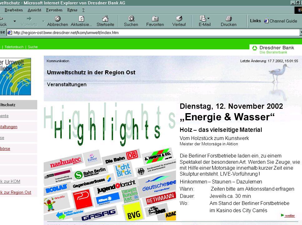 Dienstag, 12. November 2002 Energie & Wasser Holz – das vielseitige Material Vom Holzstück zum Kunstwerk Meister der Motorsäge in Aktion Die Berliner