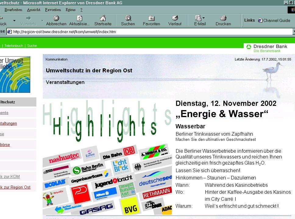 Dienstag, 12. November 2002 Energie & Wasser Wasserbar Berliner Trinkwasser vom Zapfhahn Machen Sie den ultimativen Geschmackstest Die Berliner Wasser