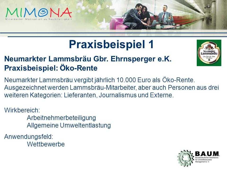 Praxisbeispiel 1 Neumarkter Lammsbräu Gbr.Ehrnsperger e.K.