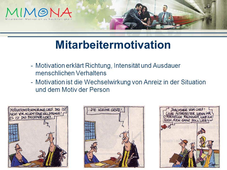 Mitarbeitermotivation -Motivation erklärt Richtung, Intensität und Ausdauer menschlichen Verhaltens -Motivation ist die Wechselwirkung von Anreiz in der Situation und dem Motiv der Person