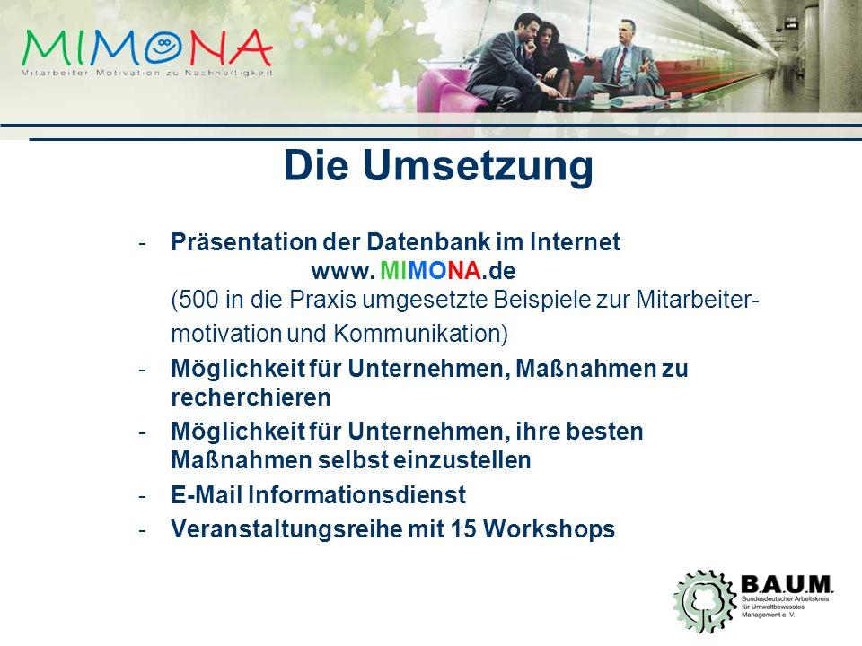 -Präsentation der Datenbank im Internet www.