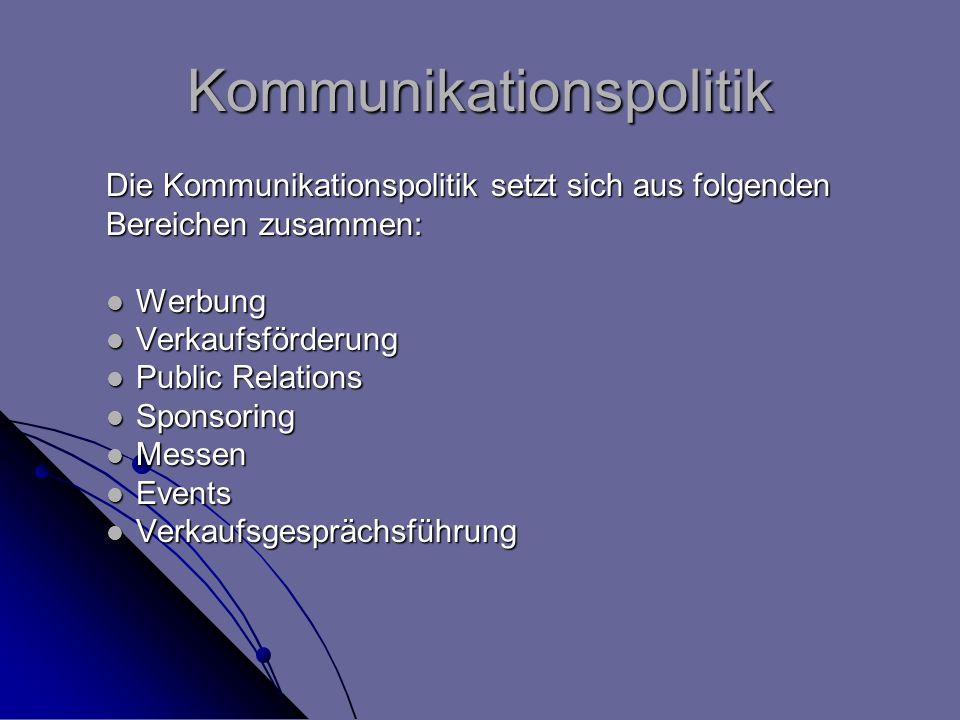 Kommunikationspolitik Die Kommunikationspolitik setzt sich aus folgenden Bereichen zusammen: Werbung Werbung Verkaufsförderung Verkaufsförderung Publi
