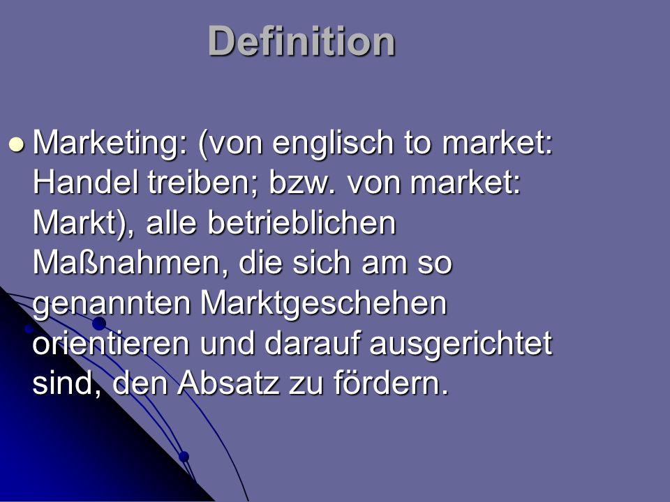 Definition Marketing: (von englisch to market: Handel treiben; bzw. von market: Markt), alle betrieblichen Maßnahmen, die sich am so genannten Marktge