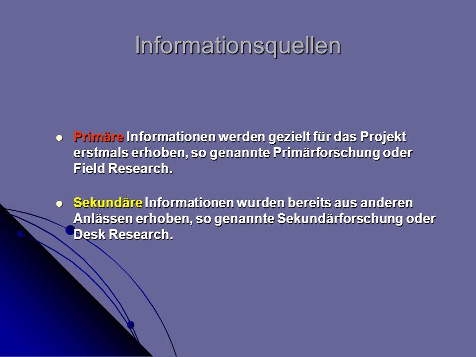Informationsquellen Primäre Informationen werden gezielt für das Projekt erstmals erhoben, so genannte Primärforschung oder Field Research. Primäre In