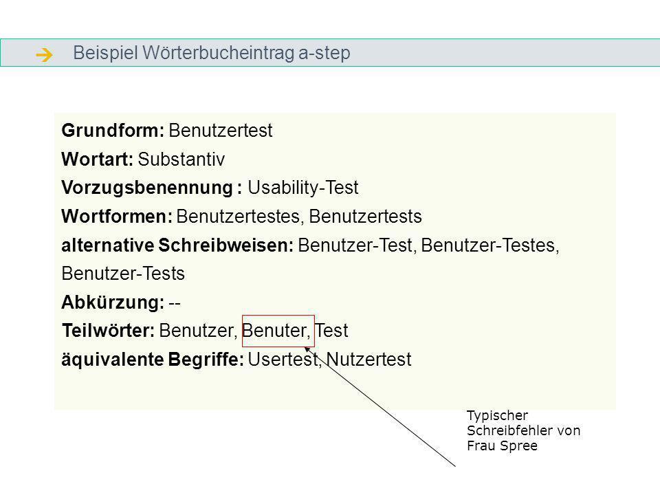 Beispiel Wörterbucheintrag a-step Grundform: Benutzertest Wortart: Substantiv Vorzugsbenennung : Usability-Test Wortformen: Benutzertestes, Benutzertests alternative Schreibweisen: Benutzer-Test, Benutzer-Testes, Benutzer-Tests Abkürzung: -- Teilwörter: Benutzer, Benuter, Test äquivalente Begriffe: Usertest, Nutzertest Typischer Schreibfehler von Frau Spree