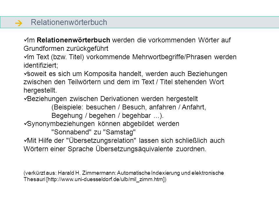 Relationenwörterbuch Im Relationenwörterbuch werden die vorkommenden Wörter auf Grundformen zurückgeführt im Text (bzw.