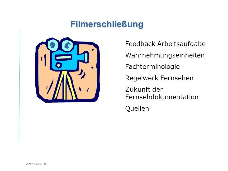Spree SoSe 2006 Filmerschließung Feedback Arbeitsaufgabe Wahrnehmungseinheiten Fachterminologie Regelwerk Fernsehen Zukunft der Fernsehdokumentation Quellen