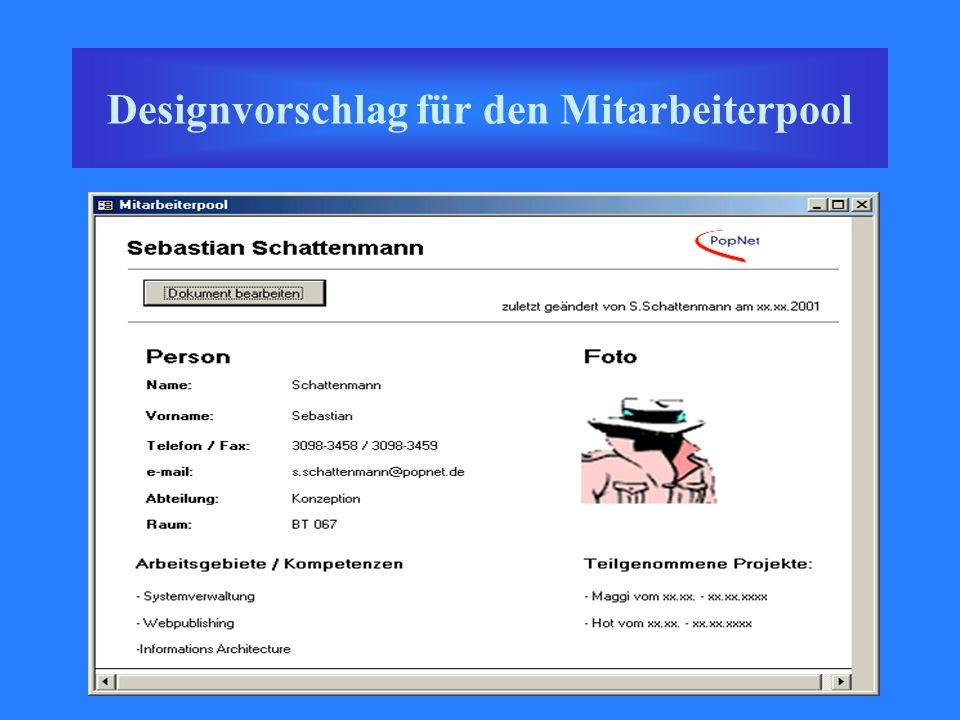 Designvorschlag für den Mitarbeiterpool