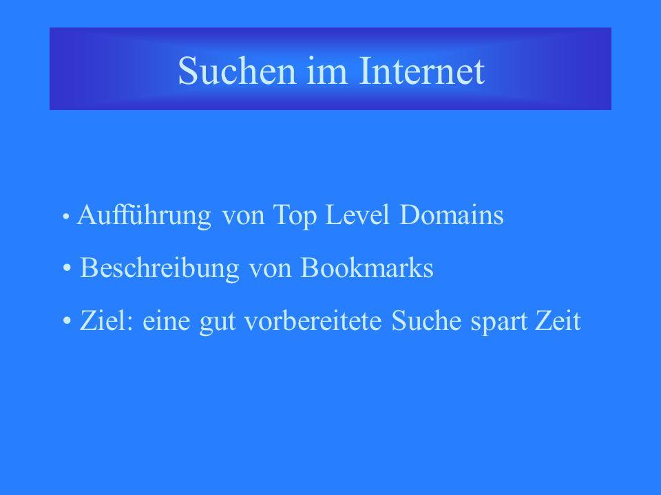 Suchen im Internet Aufführung von Top Level Domains Beschreibung von Bookmarks Ziel: eine gut vorbereitete Suche spart Zeit