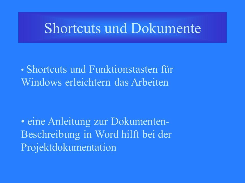 Shortcuts und Dokumente Shortcuts und Funktionstasten für Windows erleichtern das Arbeiten eine Anleitung zur Dokumenten- Beschreibung in Word hilft bei der Projektdokumentation