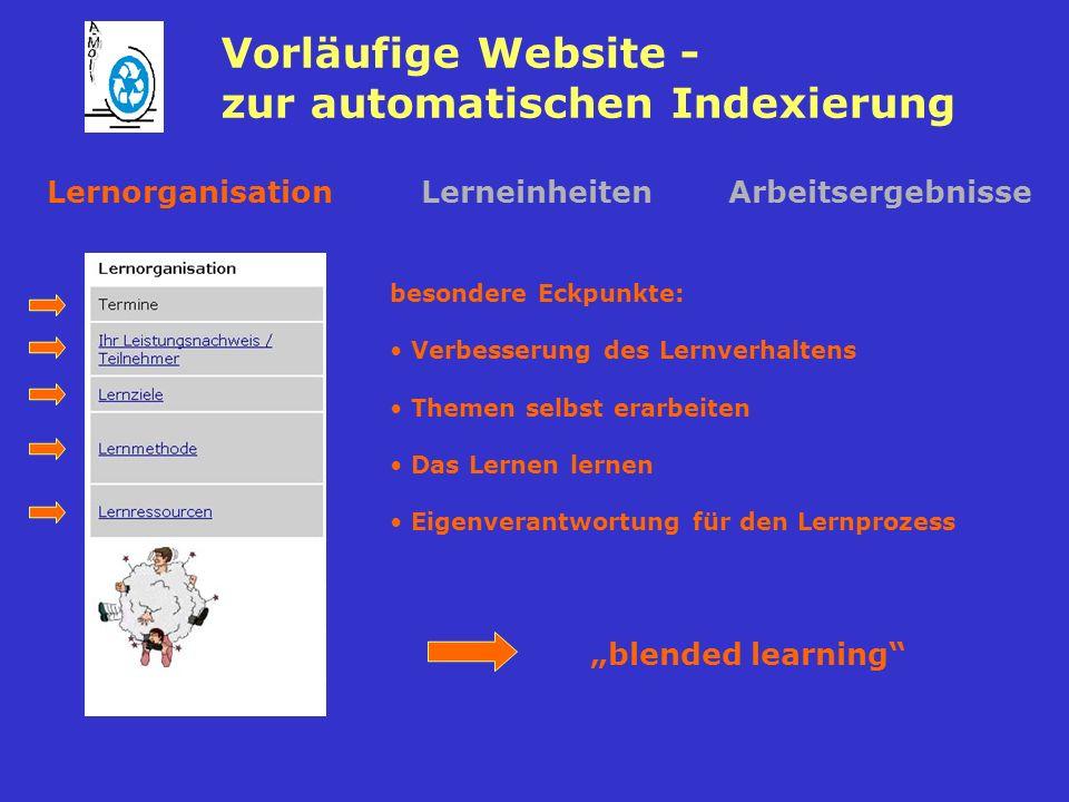 Vorläufige Website - zur automatischen Indexierung LernorganisationLerneinheitenArbeitsergebnisse besondere Eckpunkte: Verbesserung des Lernverhaltens Themen selbst erarbeiten Das Lernen lernen Eigenverantwortung für den Lernprozess blended learning