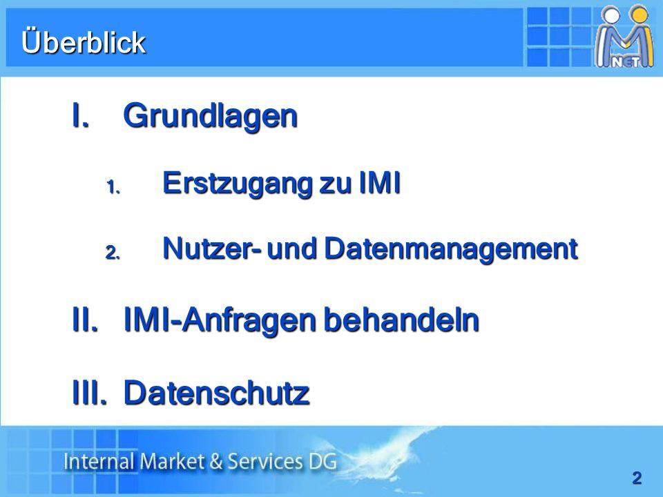 2 I.Grundlagen 1. Erstzugang zu IMI 2. Nutzer- und Datenmanagement II.IMI-Anfragen behandeln III.Datenschutz Überblick