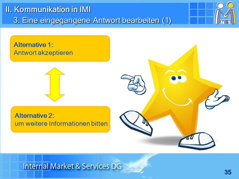 35 3. Eine eingegangene Antwort bearbeiten (1) Alternative 1: Antwort akzeptieren Alternative 2: um weitere Informationen bitten II. Kommunikation in