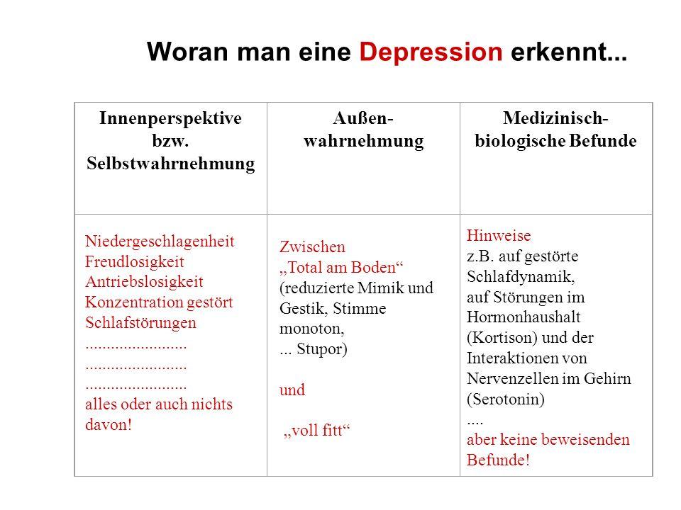 Woran man eine Depression erkennt... Innenperspektive bzw. Selbstwahrnehmung Außen- wahrnehmung Medizinisch- biologische Befunde Niedergeschlagenheit