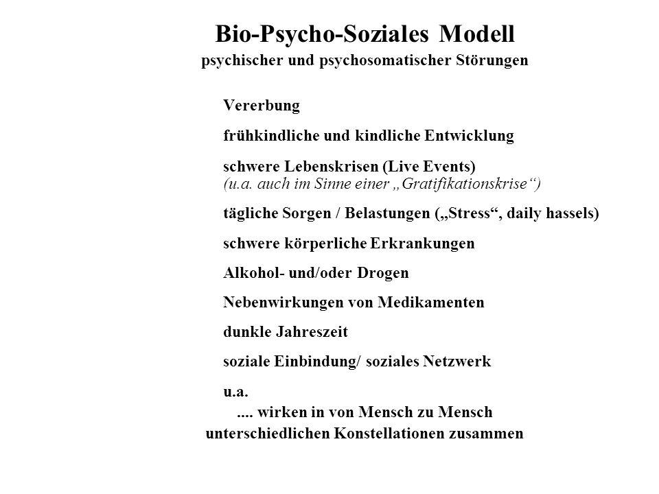 Bio-Psycho-Soziales Modell psychischer und psychosomatischer Störungen Vererbung frühkindliche und kindliche Entwicklung schwere Lebenskrisen (Live Ev