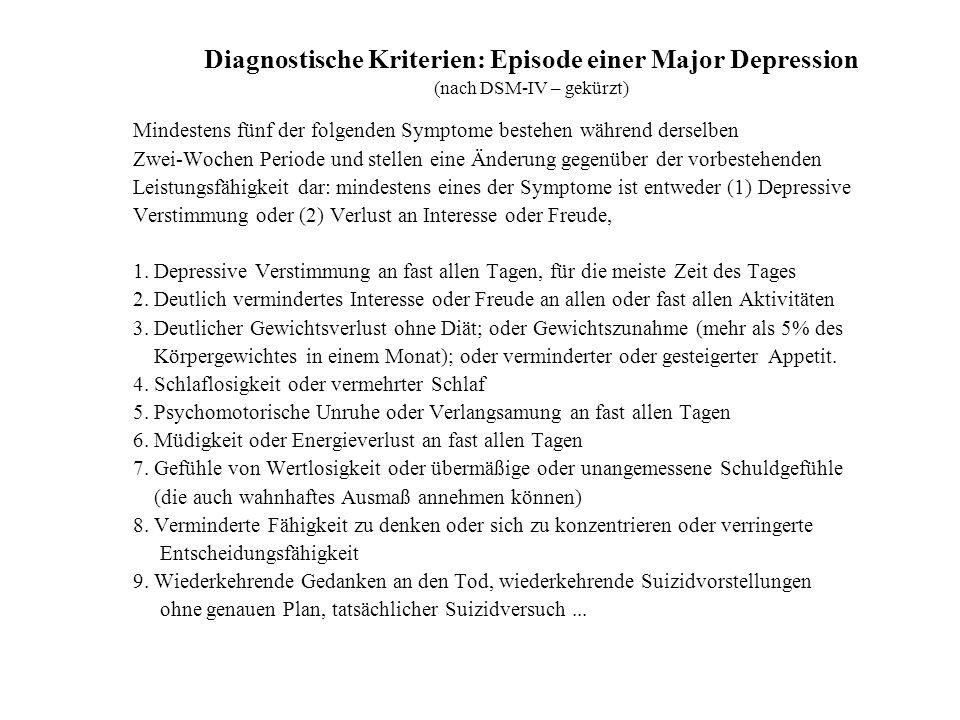 Diagnostische Kriterien: Episode einer Major Depression (nach DSM-IV – gekürzt) Mindestens fünf der folgenden Symptome bestehen während derselben Zwei