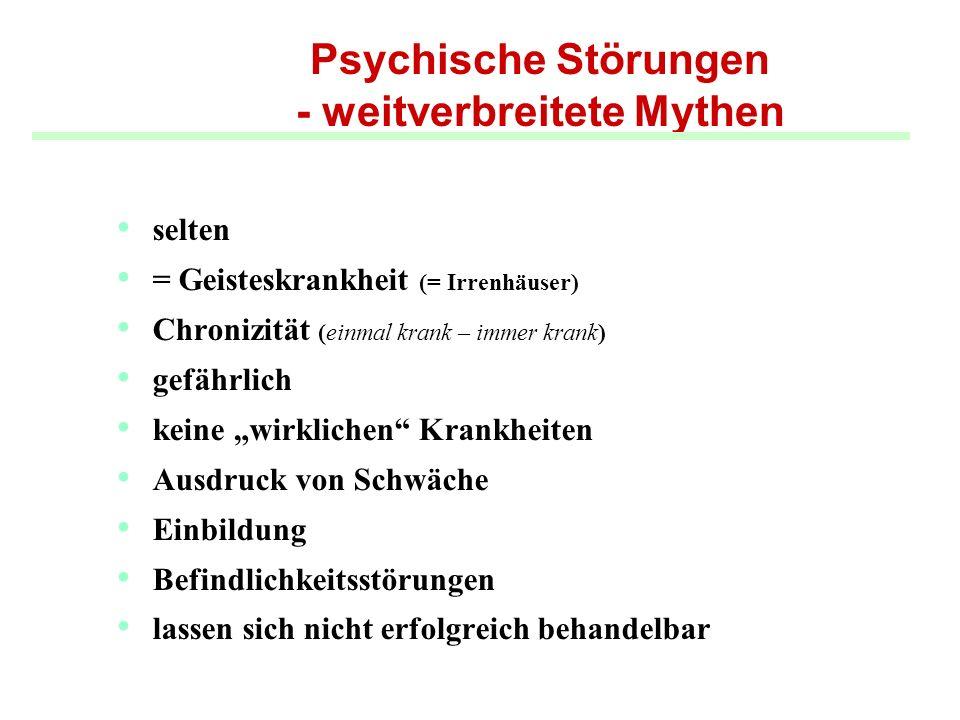 Psychische Störungen - weitverbreitete Mythen selten = Geisteskrankheit (= Irrenhäuser) Chronizität (einmal krank – immer krank) gefährlich keine wirk