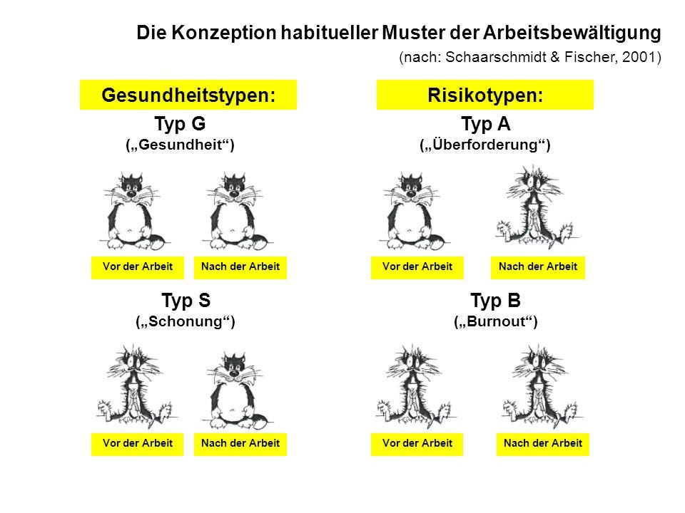 Die Konzeption habitueller Muster der Arbeitsbewältigung (nach: Schaarschmidt & Fischer, 2001) Gesundheitstypen:Risikotypen: Typ G (Gesundheit) Vor de