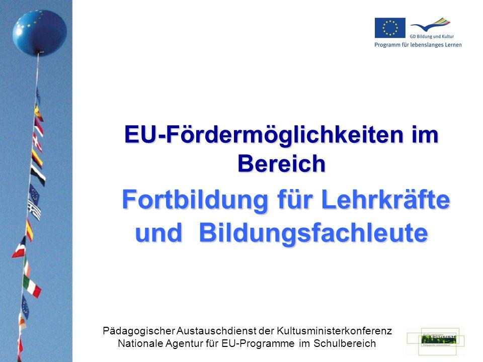 Fortbildungsangebote im Ausland EU-Angebote im Rahmen des LLP Sonstige Angebote mit Vermittlung über den PAD Informationen auf der Website des PAD www.kmk-pad.org