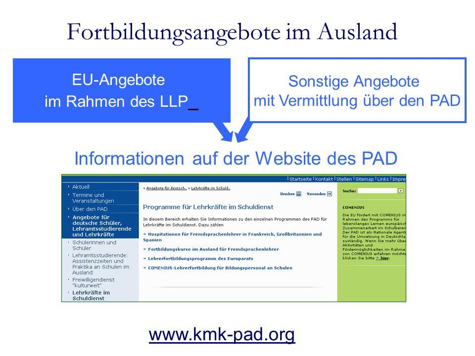 Fortbildungsangebote im Ausland EU-Angebote im Rahmen des LLP Sonstige Angebote mit Vermittlung über den PAD Informationen auf der Website des PAD www